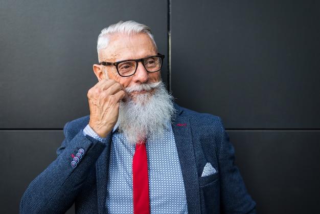 Senior hipster man portrait