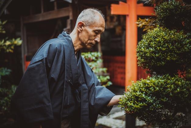 Старший японский человек заботится о своем саду