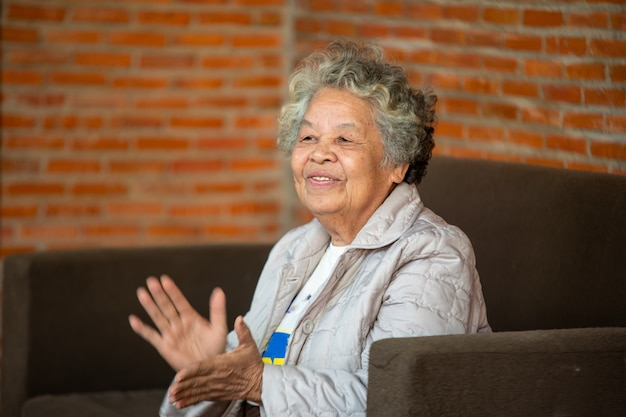 고위 여성 초상화, 웃고 있는 중년의 성숙한 회색 머리 여성이 거실에 있는 소파에 앉아 있습니다.