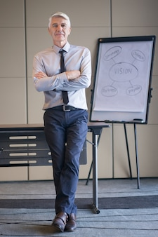 Senior lecturer with arms crossed and flipchart