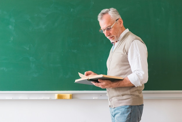 Senior male teacher reading book against blackboard