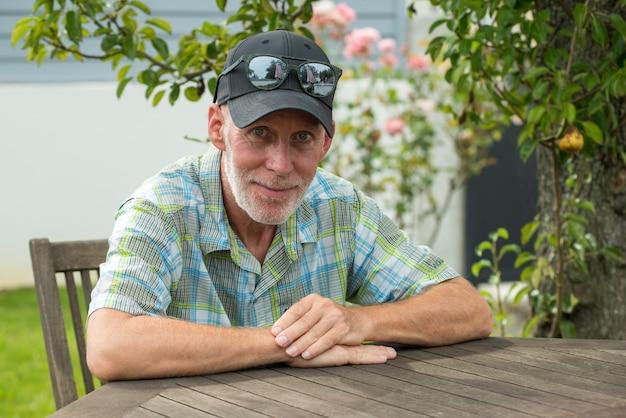 Senior man in a baseball cap portrait