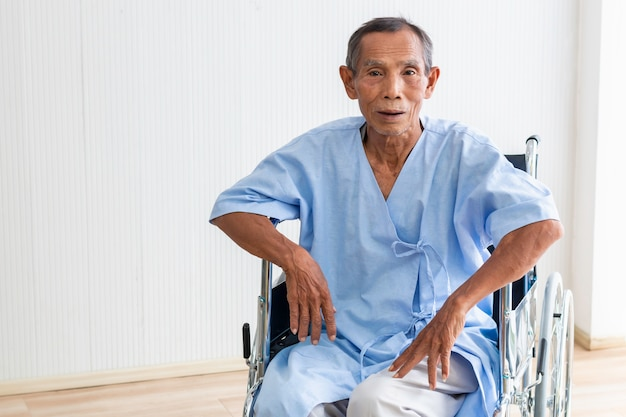 Senior man patient in his wheelchair in the hospital.