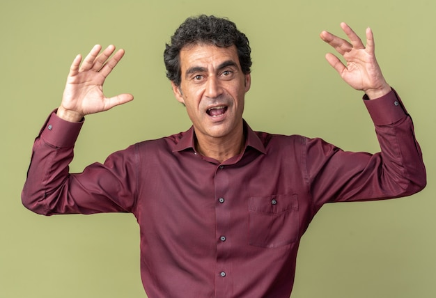 Senior man in purple shirt looking at camera happy and excited with arms raised standing over green background