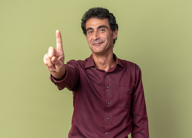 Senior man in purple shirt looking at camera smiling confident showing indsex finger standing over green
