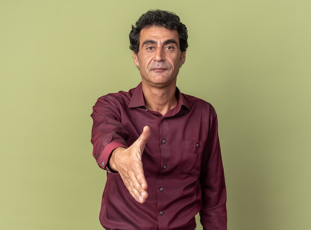 Senior man in purple shirt offering arm greeting gesture looking confident standing over green background
