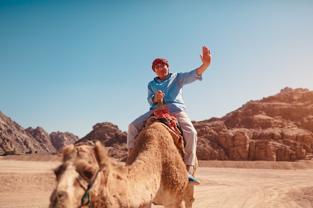 Senior man rides a camel in desert by sinai mountains.