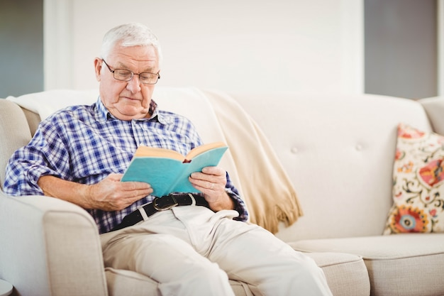 Senior man sitting on sofa and reading a book in living room