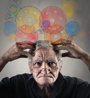 Senior man thinking hard