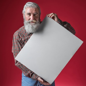 Senior man with grey beard holding white blank placard in hand against red backdrop