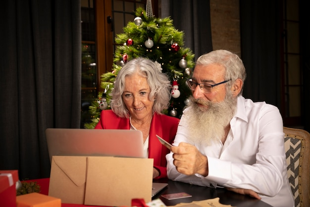 Senior man and woman together for christmas