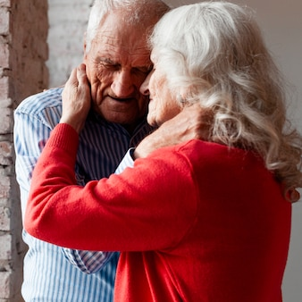 Senior man and woman together in love