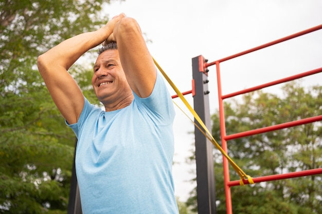 Senior man working out outside