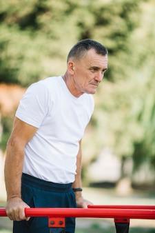 Senior man working out routine