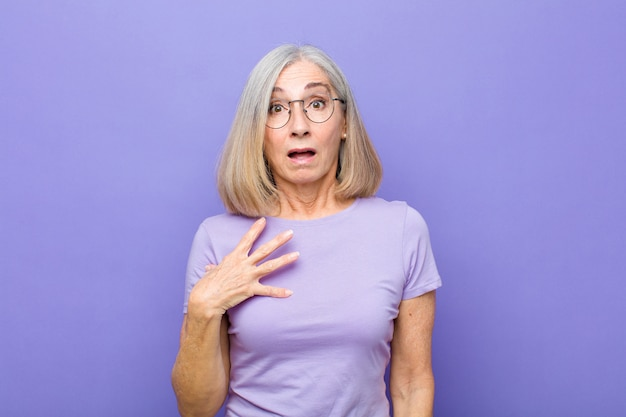 Senior or middle age pretty woman feeling shocked, astonished and surprised, with hand on chest and open mouth, saying who, me?