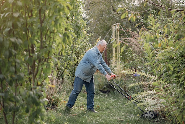 Старший косит газон во дворе газонокосилкой