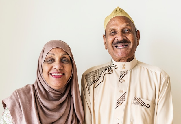 Senior muslim couple at home