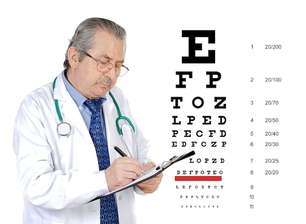 Senior oculist man reviewing the eye health of a patient