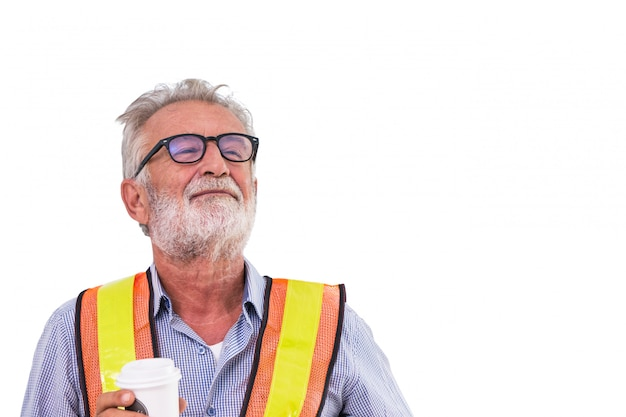 Senior old man engineer worker smile and holding coffee cup isolated on white background