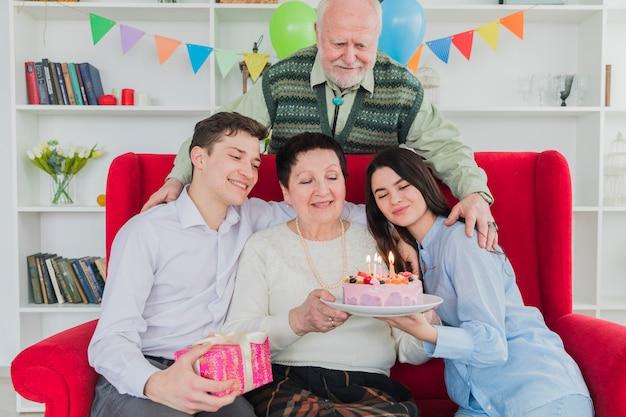 Senior people celebrating birthday