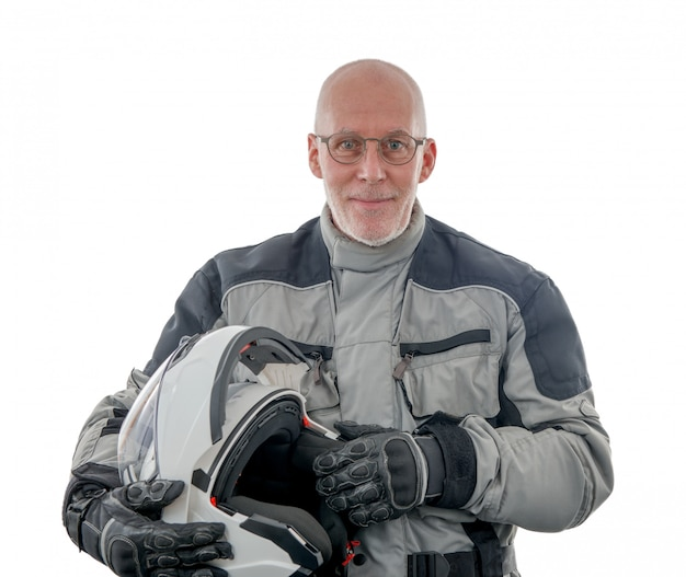 Senior rider with white helmet isolated on the white background
