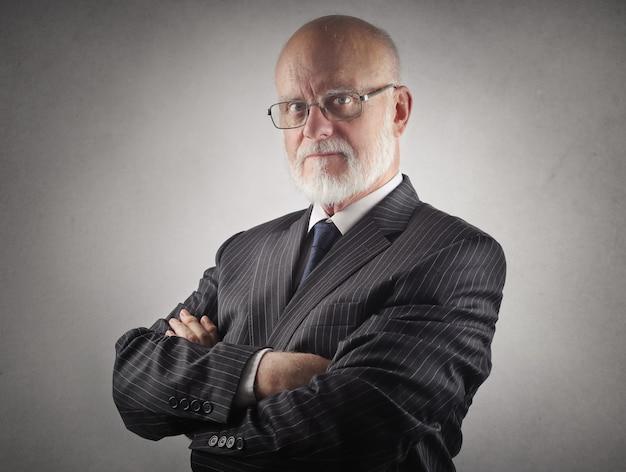 Senior serious businessman