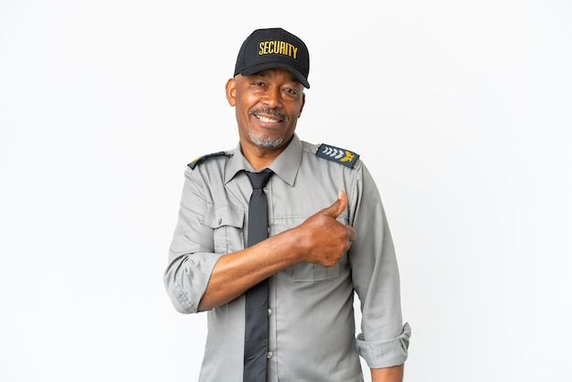 Senior staff man isolated on white background giving a thumbs up gesture