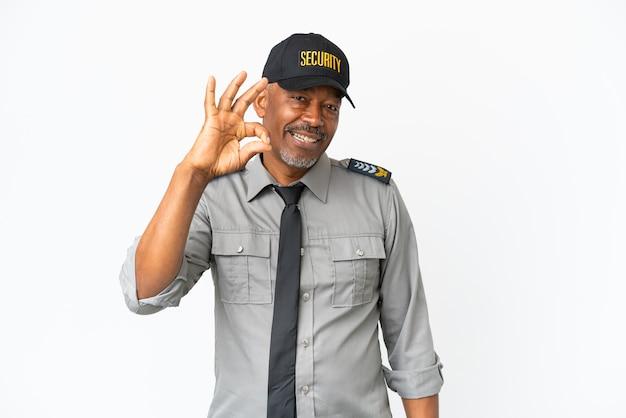 Senior staff man isolated on white background showing ok sign with fingers