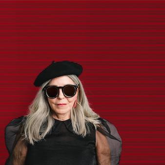 Senior woman in a fashion shoot