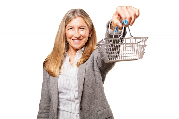 Senior woman holding an aluminum basket