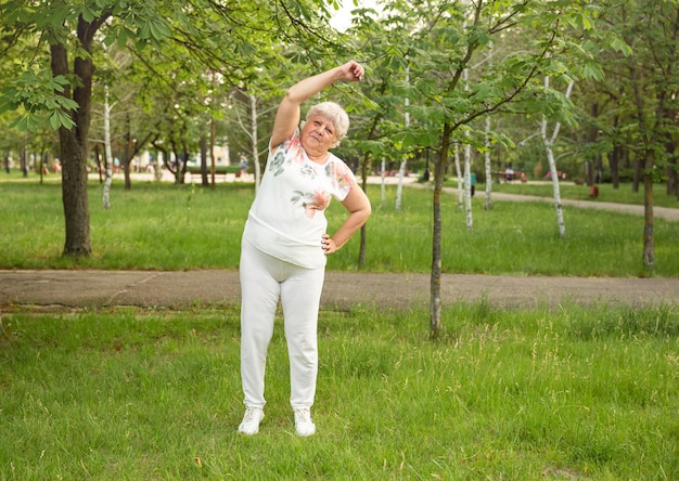 年配の女性は公園でヨガやストレッチ運動をしています。エクササイズをする老婦人の笑顔。