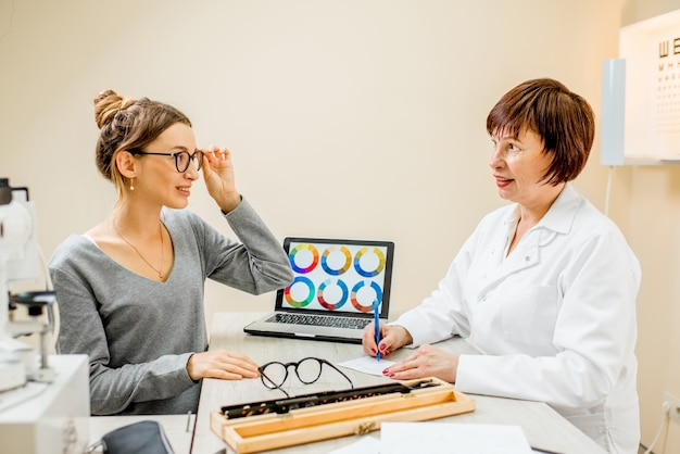 Senior woman ophthalmologist with young female patient during the consultation in the ophthalmological office