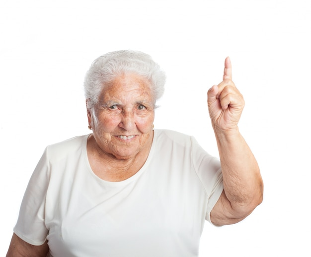 올려 진 된 손가락으로 웃 고 고위 여자
