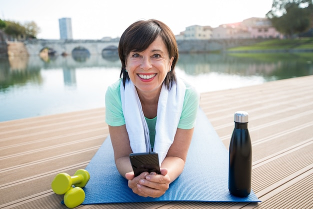 Senior woman training work out outdoor