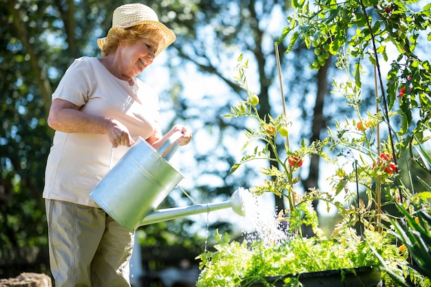 庭の水まき缶で植物に水をまく年配の女性