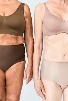 茶色とベージュのランジェリースタジオの肖像画の年配の女性