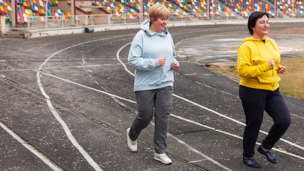 Senior women running