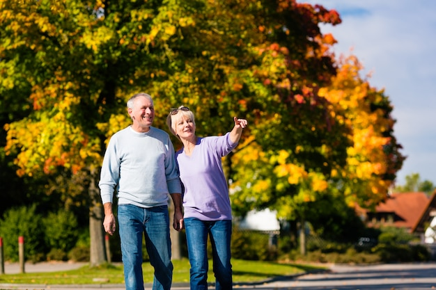 Seniors in autumn or fall walking hand in hand