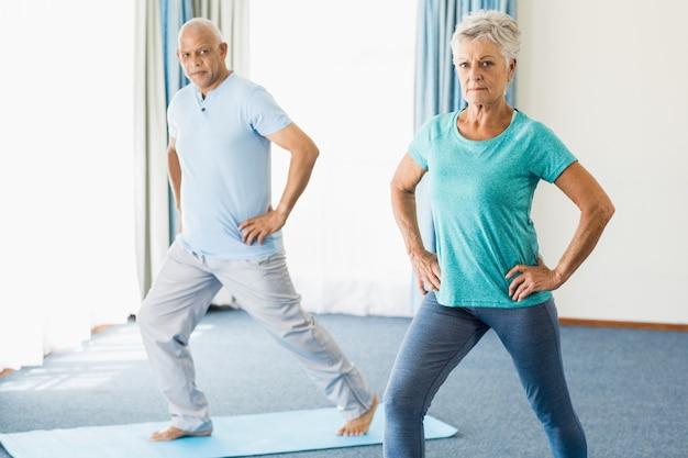 Seniors doing sport exercises