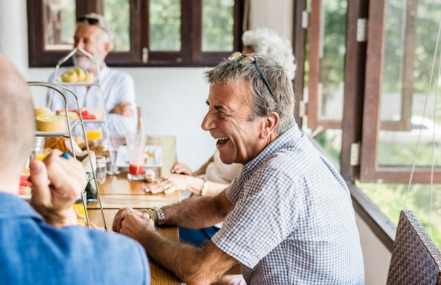 Seniors enjoying breakfast