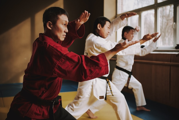 Sensei and two martial arts students doing stances together.