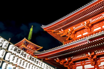 Sensoji temple is landmark in Tokyo at night, is light up and tour