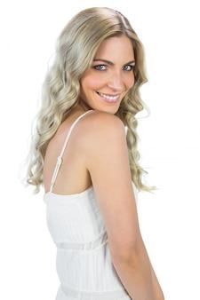 Sensual blond woman smiling