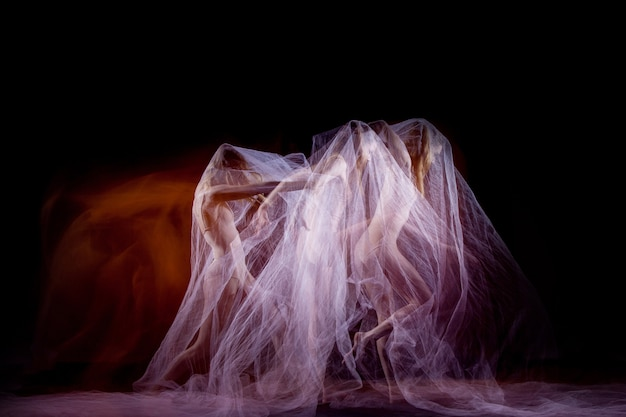 The sensual and emotional dance of beautiful ballerina with veil. photography technique with strobe