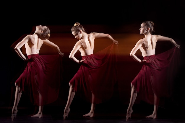 The sensual and emotional dance of beautiful ballerina.