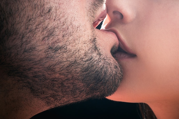 Sensual kissing. couple in love. intimate relationship and sexual relations. closeup mouths kissing. passion and sensual touch. romantic and love.
