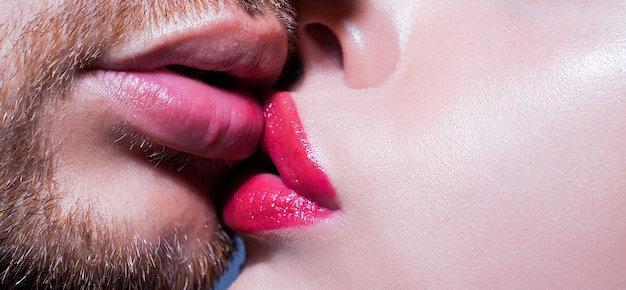 Sensual passionate couple kissing lips closeup of couple mouths kiss