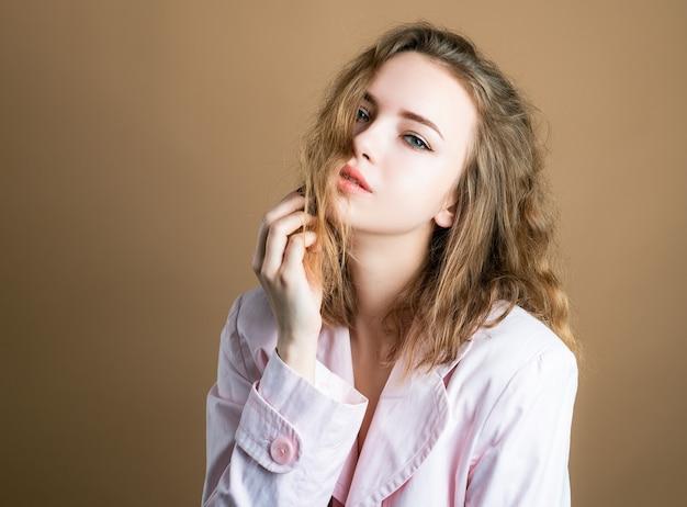 Sensual sexy woman in shirt. seductive girl. fashion style.