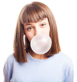 Sensual teenager with bubble gum