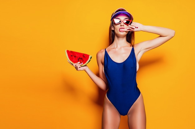 Sensual woman with watermelon